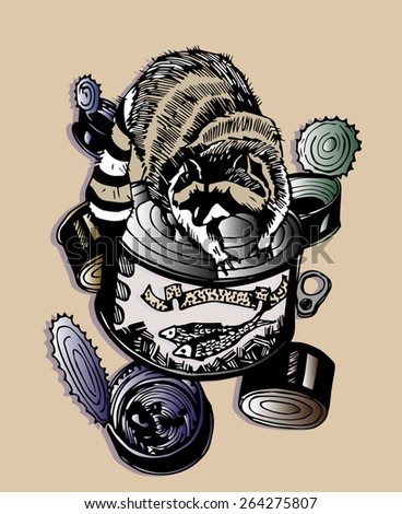 Raccoon illustration design for postcard and decoration.