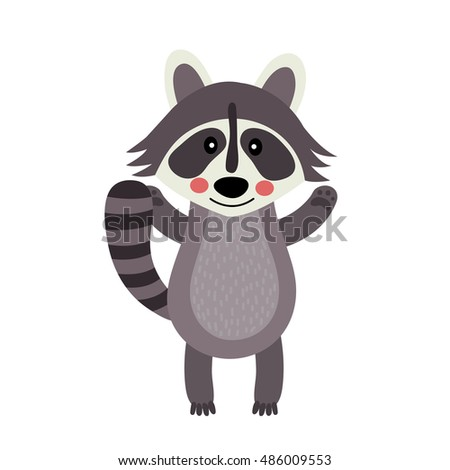 raccoon standing and raising