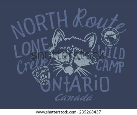 Raccoon wild camp vector artwork for kids wear in custom colors
