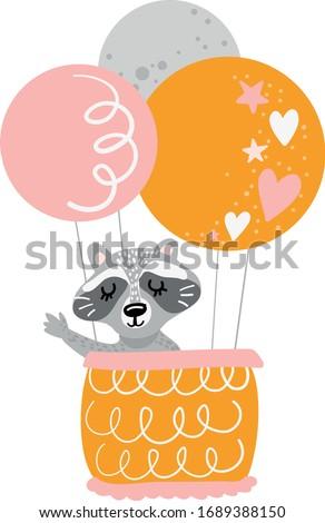 Raccoon with balloon vector art