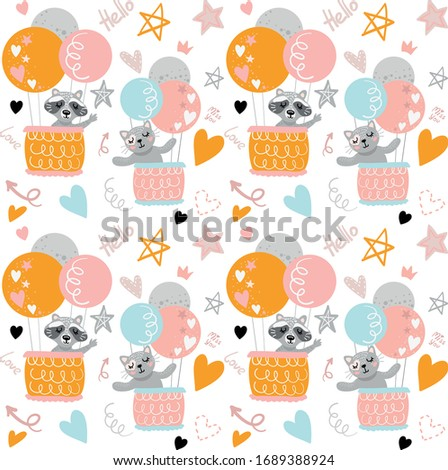 Raccoon with cat vector pattern