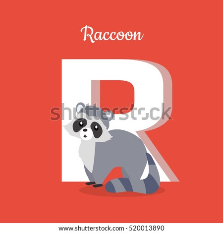 raccoon with letter r isolated