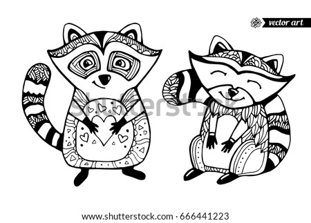 Raccoons Isolated Cartoon Animal Funny Character Vector Set Collection Black And White