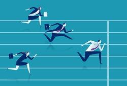 Race. Businessmen running down the track. Business vector illustration