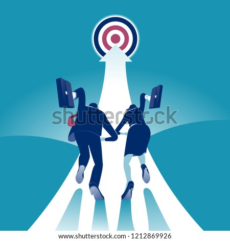 Race. Businesspersons running to the target. Concept business vector illustration