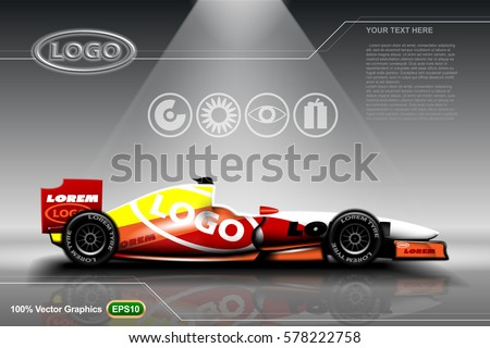 Race car ads template mock up, on grey shiny background, can be used for any printing magazines and posters or other in 3d illustration