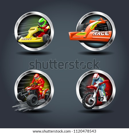 Race Car and motorbike set, steely rounded badge icon. For Ui/Game.