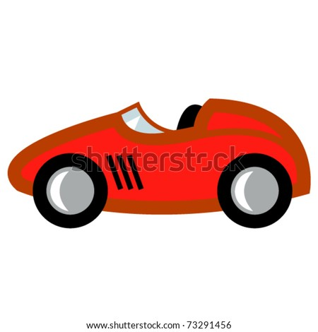 Auto Racing  on Cartoon Style Or Child S Toy Auto Or Automobile With A Red Paint Job