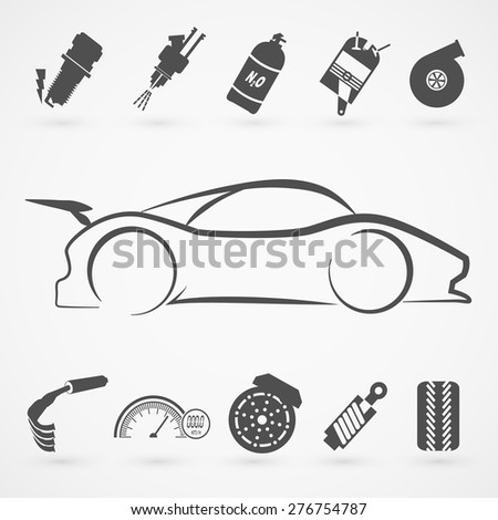 race car logo hand draw with