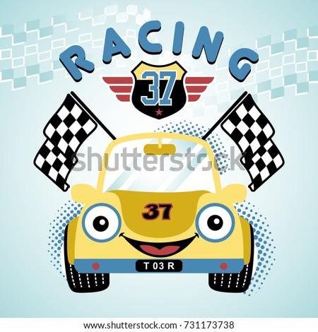 race car vector cartoon illustration