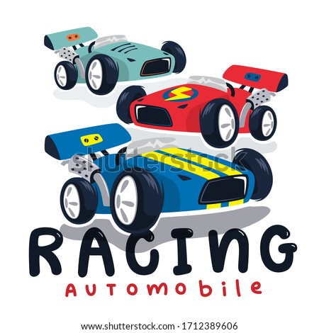 Race cars typography t-shirt graphic isolated on white background illustration vector.