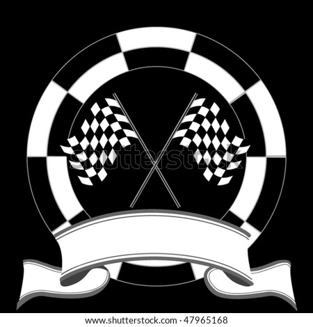 Auto Racing Flags  Banners on Race Emblem With Rally Flags And Banner Stock Vector 47965168