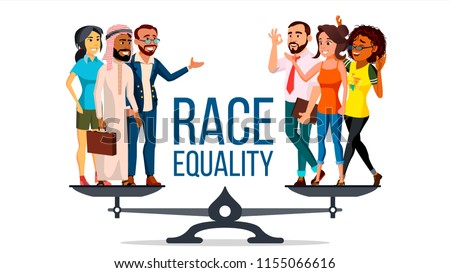 Race Equality Vector. Standing On Scales. Equal Opportunity, Rights. Diversity Tolerance Concept. Piece. Isolated Flat Cartoon Illustration