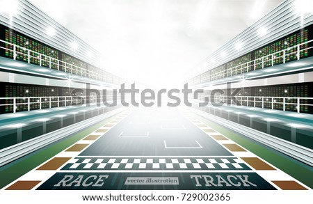 Race Track Arena with Spotlights and Finish Line. Vector Illustration.