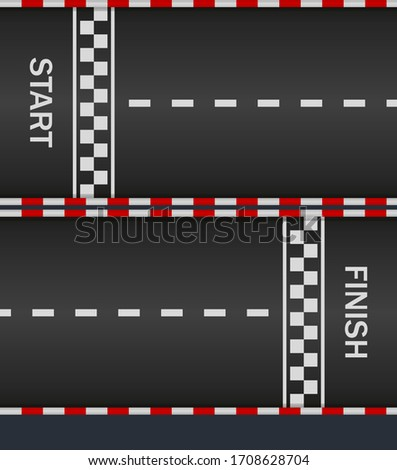 Race track with start and finish line for car. Asphalt road on f1. Texture for racing top formula. Pattern of fast speedway. Racetrack on street. Surface for auto-moto sport. Auto wallpapers. Vector.