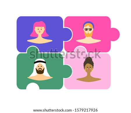 Race unity. People unity. No to racism. Multicultural group of women and men. Multinational friends. Multiethnic women and men. Social diversity. Puzzle. Vector illustration.