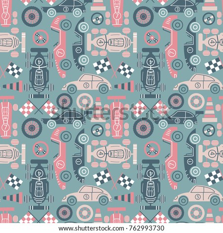 Racer championship seamless pattern. Classic sport cars vector background. Racing sport illustration.