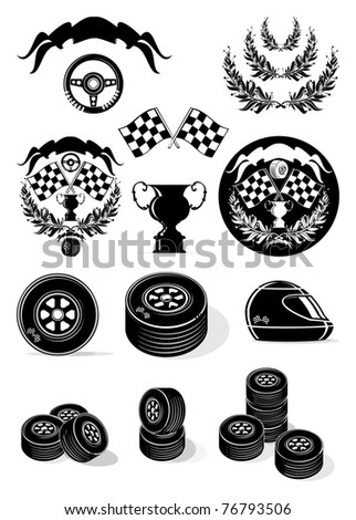 Racer collection, vector, gray scale