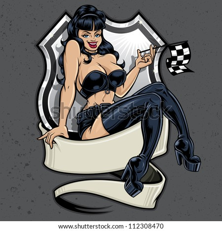 Racer Girl Pin-Up. Vector racing illustration of a sexy pin-up girl sitting atop a banner holding a checkered flag in front of a highway sign on a concrete textured background.