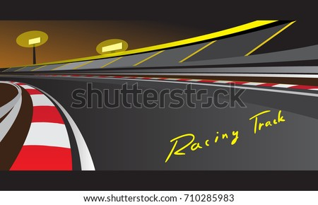 racetrack at night vector