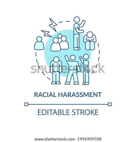 Racial harassment concept icon. Racism in social situation abstract idea thin line illustration. Expressing hostility against certain race. Vector isolated outline color drawing. Editable stroke Foto stock ©