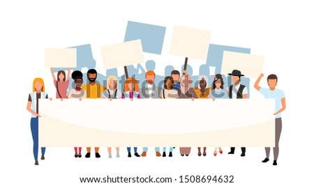 Racial inequality street protest flat illustration. Social movement, demonstration against racism. Multicultural activists holding blank placards cartoon characters. Human rights protection event