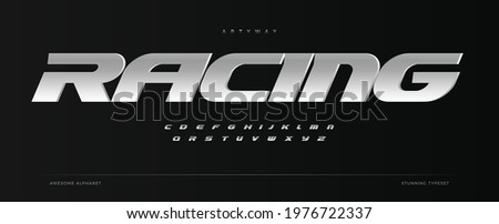 Racing alphabet. Speed sport font, automotive type for modern dynamic logo, headline, auto car branding and merchandise, typography and packaging. Wide bold italic letters, vector typographic design