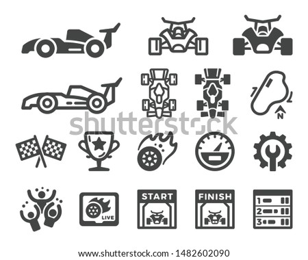 racing and car race icon set,vector and illustration
