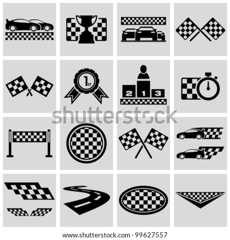 Auto Racing Information on Racing And Speed Related Icons Set  Vector Racing Checkered Graphic