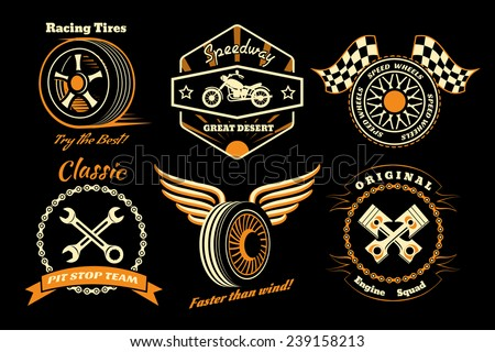 racing badges themed logos
