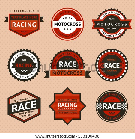 Racing badges vintage style Vector illustration