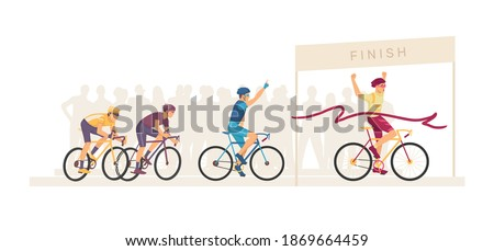 Racing bicyclists people on bikes. Marathon finish. Group sportsmen cyclists on home stretch. Ribbon breaker winner. Cyclists racing bike winner cross finish line. Winning champion concept vector Foto stock ©