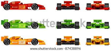 racing bolides set  side  front