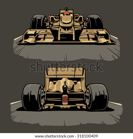 racing car front and back view