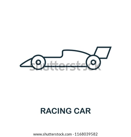 Racing Car outline icon. Simple element illustration. Racing Car icon in outline style design from sport equipment collection. Can be used for web, mobile and print. web design, apps, software, print.