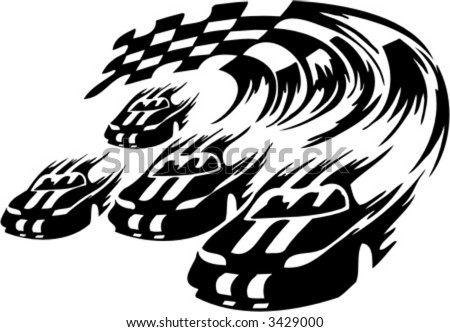 Black White Clip  Auto Racing on Racing Car  Ready For Vinyl Cutting  Stock Vector 3429000