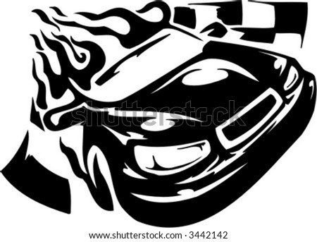 Black White Clip  Auto Racing on Racing Car  Ready For Vinyl Cutting  Stock Vector 3442142