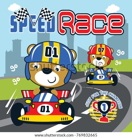 racing car speed cartoon vector