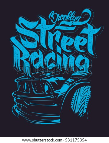 racing car typography  t shirt