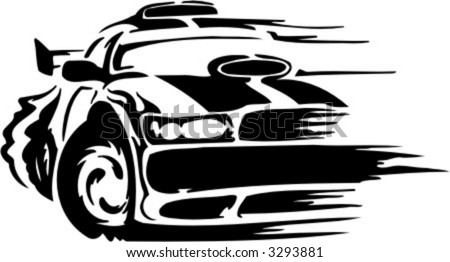 Auto Racing Subscription on Racing Car  Vector Illustration   3293881   Shutterstock