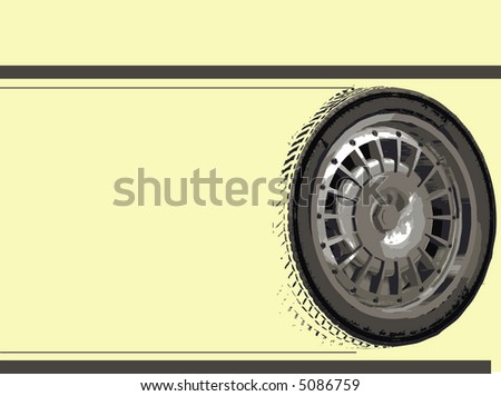 Racing Car Wheels on Yellow with copyspace