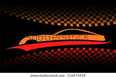 racing car with checkered flags