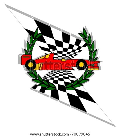 racing car with laurel crown