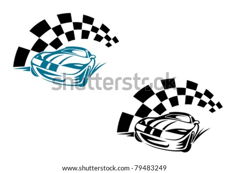 racing cars and symbols for