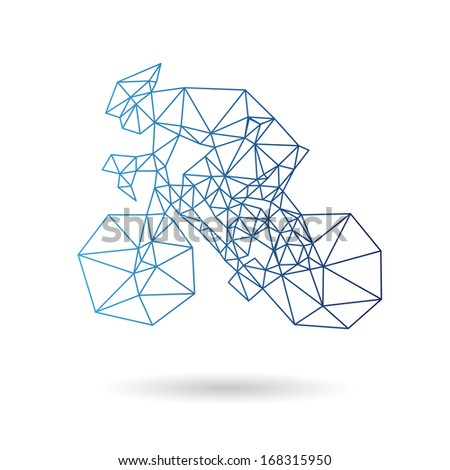 Stock Photo Racing cyclist abstract isolated on a white backgrounds