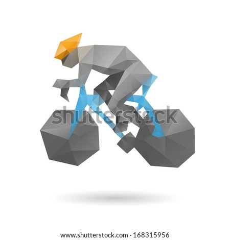Racing cyclist abstract isolated on a white backgrounds