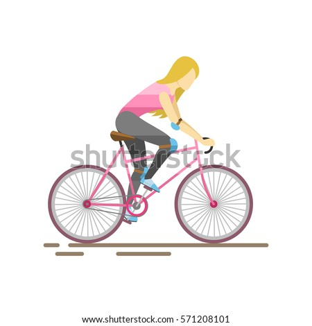 Racing cyclist in action vector illustration.