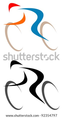 Racing cyclist - isolated vector icon on white. Line art, line work.