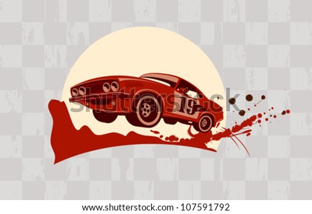 Racing design template with retro sports car.