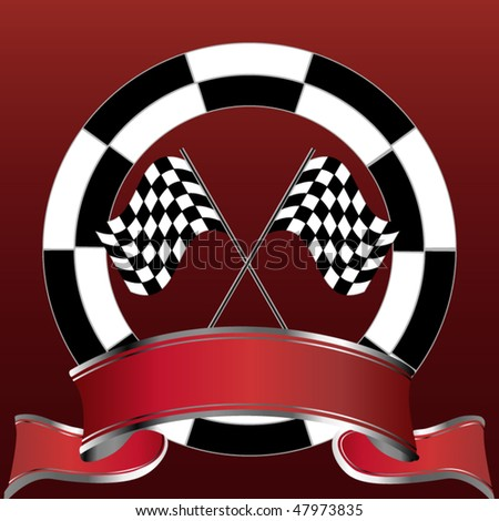 Racing emblem in red with rally flags and banner
